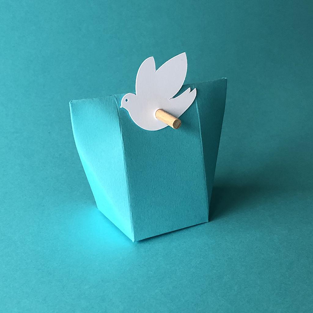 Boîte à dragées Kabagami en bleu turquoise