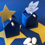 Boîtes à dragées dans une ambiance bleu et or