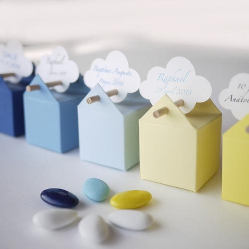 Kit de l'Aurore, 10 boites à dragées bleu et jaune