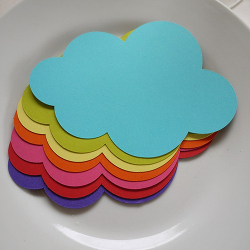 7 marque-place nuages rainbow