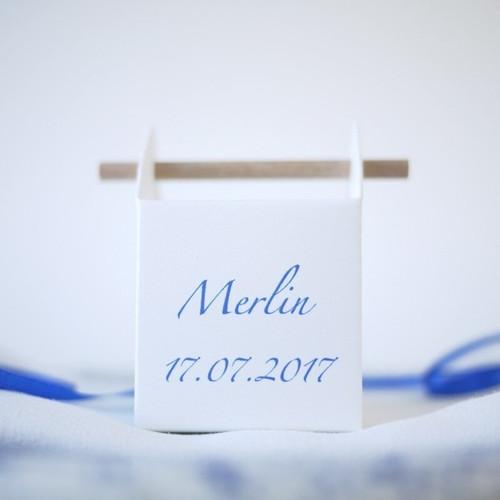 Boîte à dragées tourillon personnalisée baptême garçon