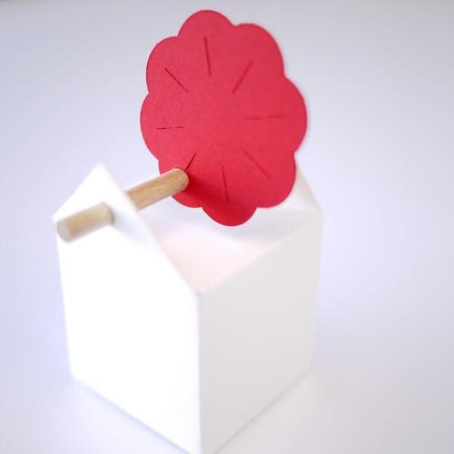 Etiquette Rose du Mont Fuji pour contenant à dragées tourillon