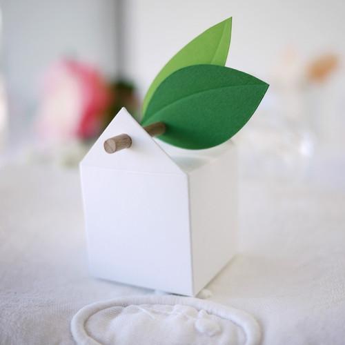 Kit Champêtre, 10 boites à dragées et étiquettes feuilles