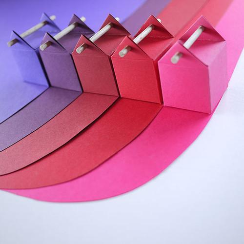 Kit de l'arc-en-rouge, 5 boîtes à dragées en dégradé de tons rouges