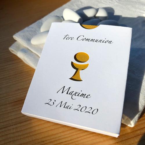 Boîte Communion personnalisée, contenant à dragées avec ostie et calice
