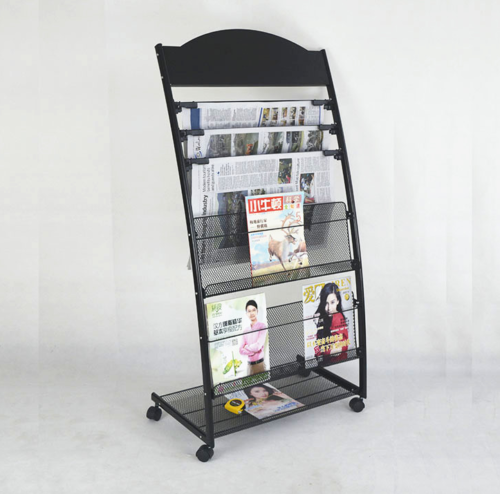 Multi-Layers Magazine Stands Brochure Holder Newspaper Rack Display Wheels