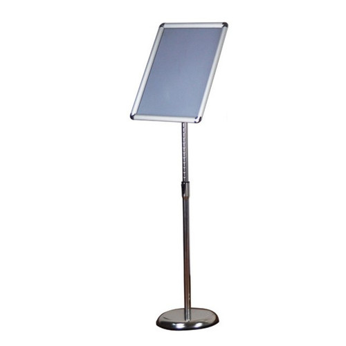 A2 / A3 / A4 Floor Poster Display / Snap Frame Stand Foyer Pedestal / Adjustable Height Sign Holder Menu Silver