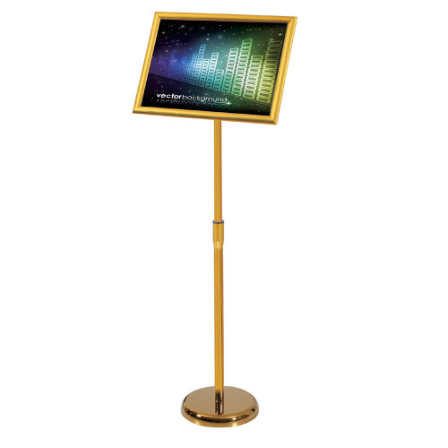 A2 / A3 / A4 Floor Poster Display / Snap Frame Stand Foyer Pedestal / Adjustable Height Sign Holder Menu Gold