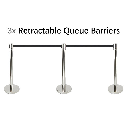 Set of 3 Queue Crowd Barriers Crowd Control with 3m Retractable Belt(Silver Pole & Black Belt)
