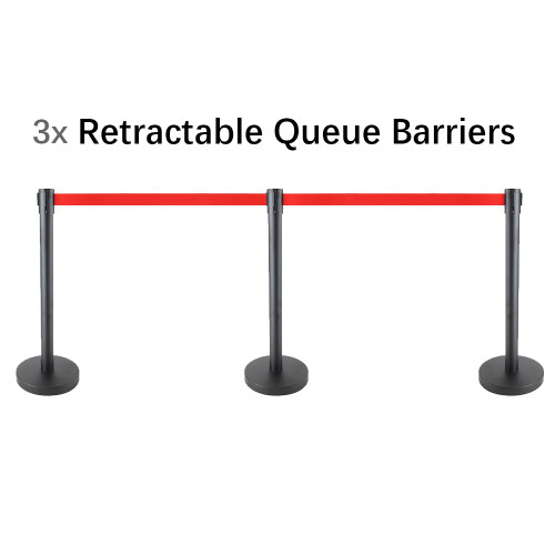 Set of 3 Queue Crowd Barriers Crowd Control with 3m Retractable Belt(Black Pole & Red Belt)