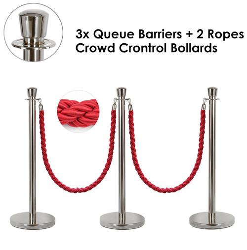 3x Queue Barriers + 2 Ropes Crowd Control Bollards Stands (SILVER WITH RED ROPE)