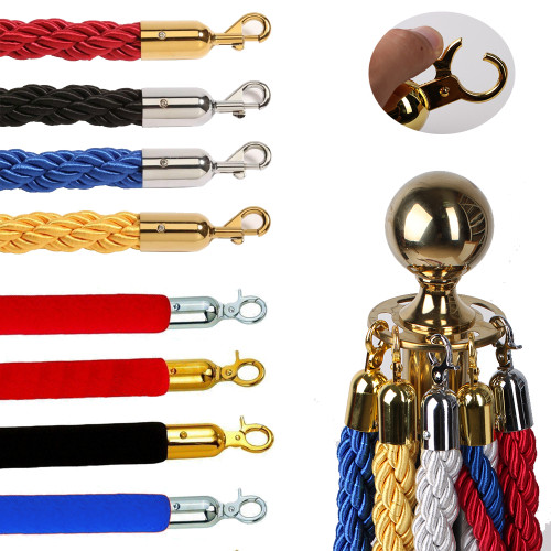 1.5m Stanchion ROPES for Control Post Rope Crowd Queue Line Barrier(Gold end)