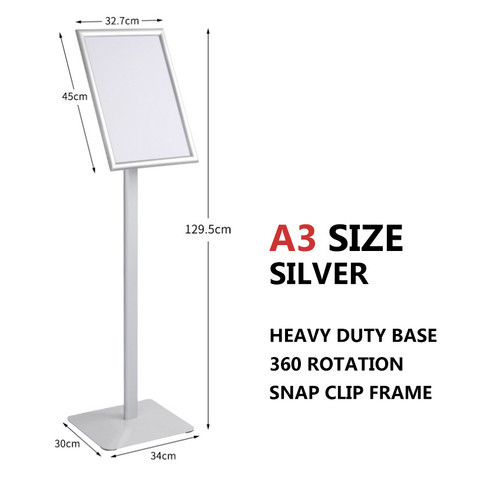 A3 Sign Floor Stand Frame Poster Stand Display Stands Silver