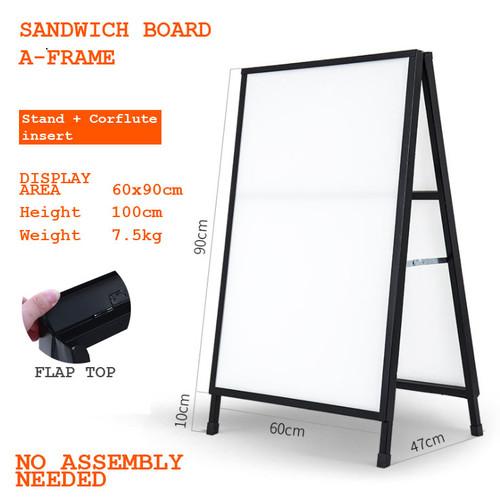 A-Frame Sandwich board Steel Black Corflute insertable + two corflutes 600x900mm
