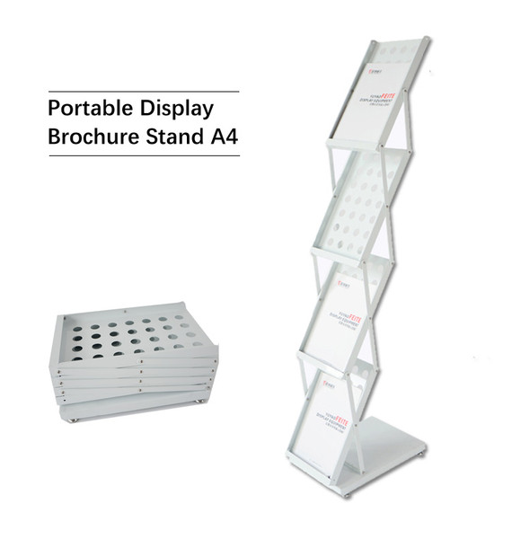Premium Portable A4 Brochure Holder / Literature Display Stand / Catalogue White