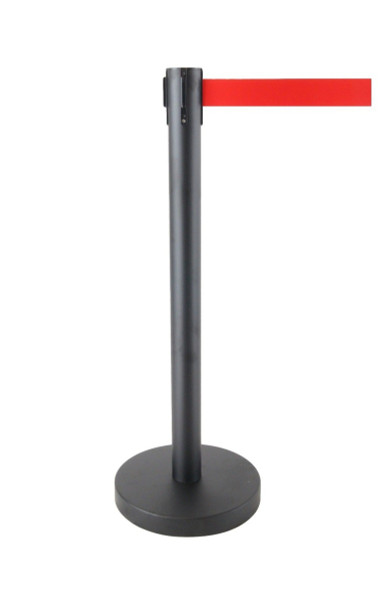 Queue Crowd Barriers Crowd Control with 3m Retractable Belt(Black Pole & Red Belt)