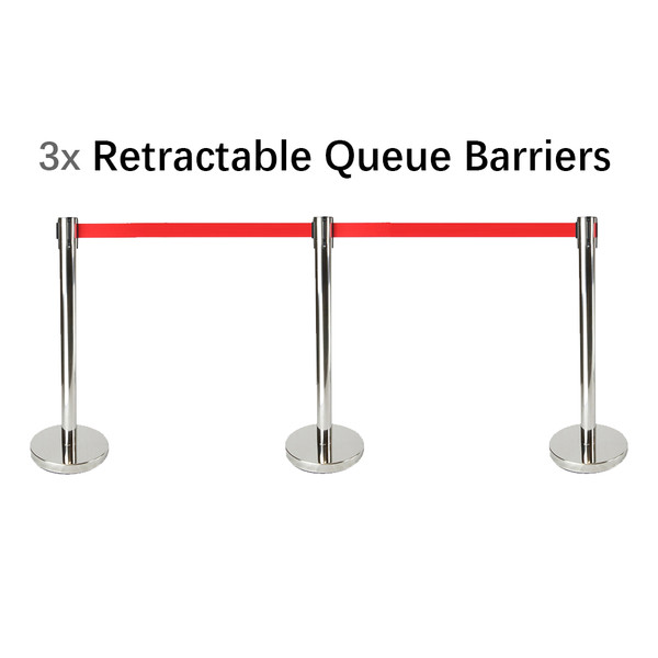 Set of 3 Queue Crowd Barriers Crowd Control with 3m Retractable Belt(Silver Pole & Red Belt)