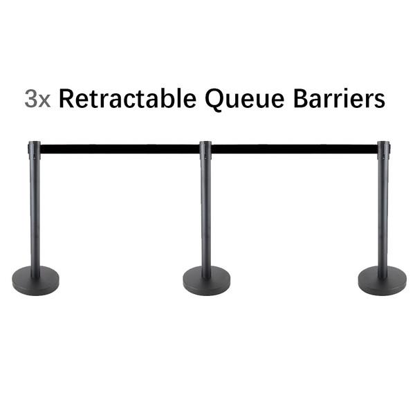 Set of 3 Queue Crowd Barriers Crowd Control with 3m Retractable Belt(Black Pole & Black Belt)
