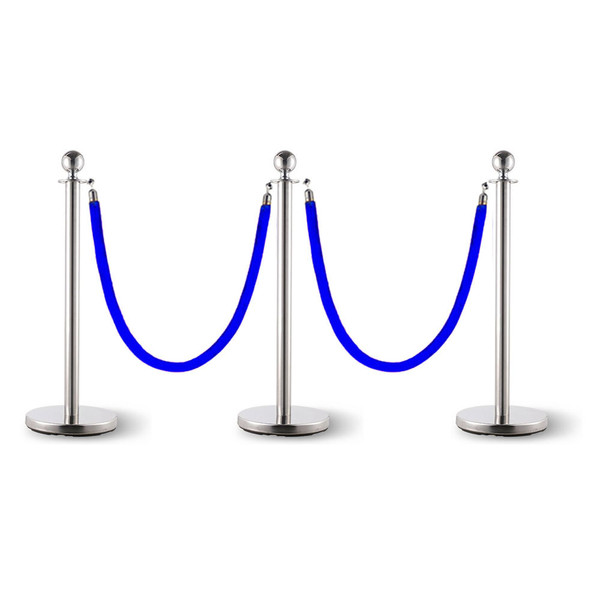 3x Queue Barriers + 2 Ropes Crowd Control Bollards Stands (SILVER WITH Blue ROPE)