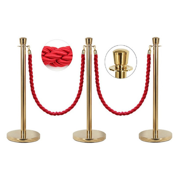 3x Queue Barriers + 2 Ropes Crowd Control Bollards Stands (GOLD WITH RED ROPE)