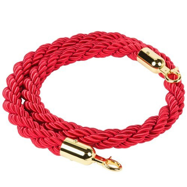 1.5m Stanchion ROPES Red for Control Post Rope Crowd Queue Line Barrier(Gold end)