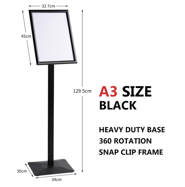 A3 Sign Floor Stand Frame Poster Stand Display Stands BLACK