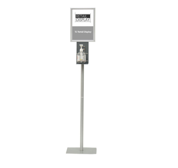 Hand Sanitiser Station for Pump Bottle Floor Stand with A4 Snap in Sign holder