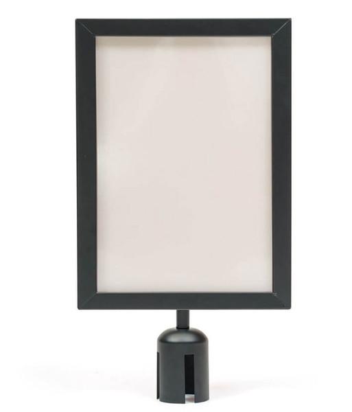 A4 Sign Holder for Retractable Belt Queue Bollard - Portrait - Black