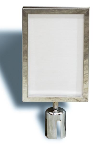 A4 Sign Holder for Retractable Belt Queue Bollard - Portrait - Sliver
