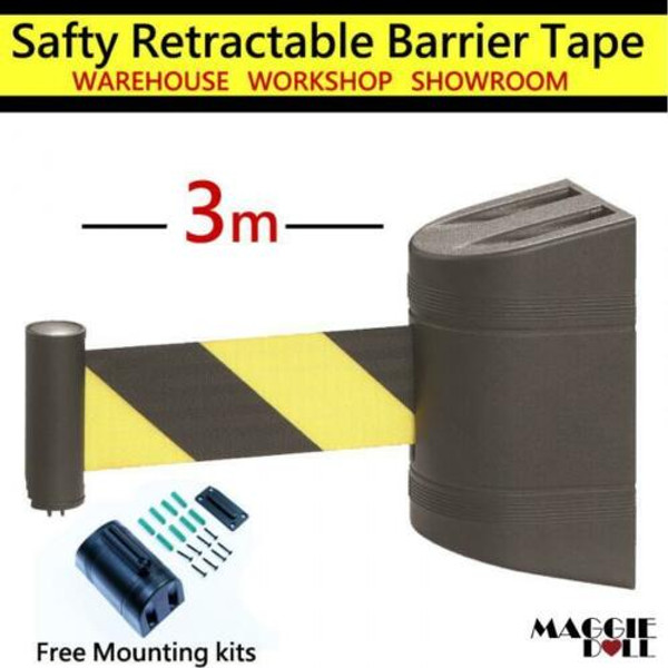 3m Retractable Barrier Tape Safety warehouse workshop crow control wall mount