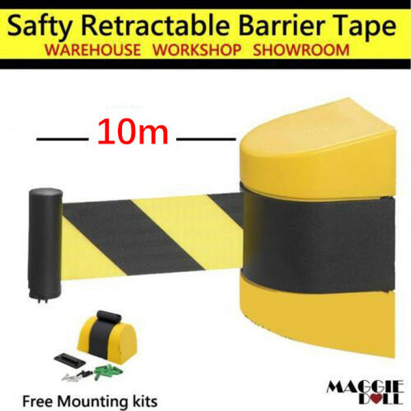10m Retractable Barrier Tape Safety warehouse workshop crowd control wall mount