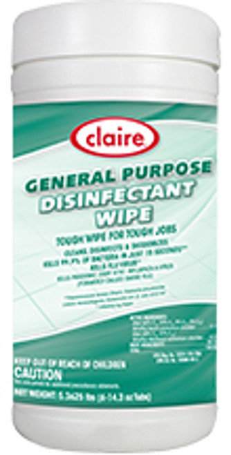 Claire General Purpose Disinfectant Wipe - Case of 6/60 Wipe Jugs