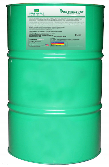 Renewable Lubricants Bio-Ultimax 1000 Hydraulic Fluid, ISO 32,  55 Gallon Drum