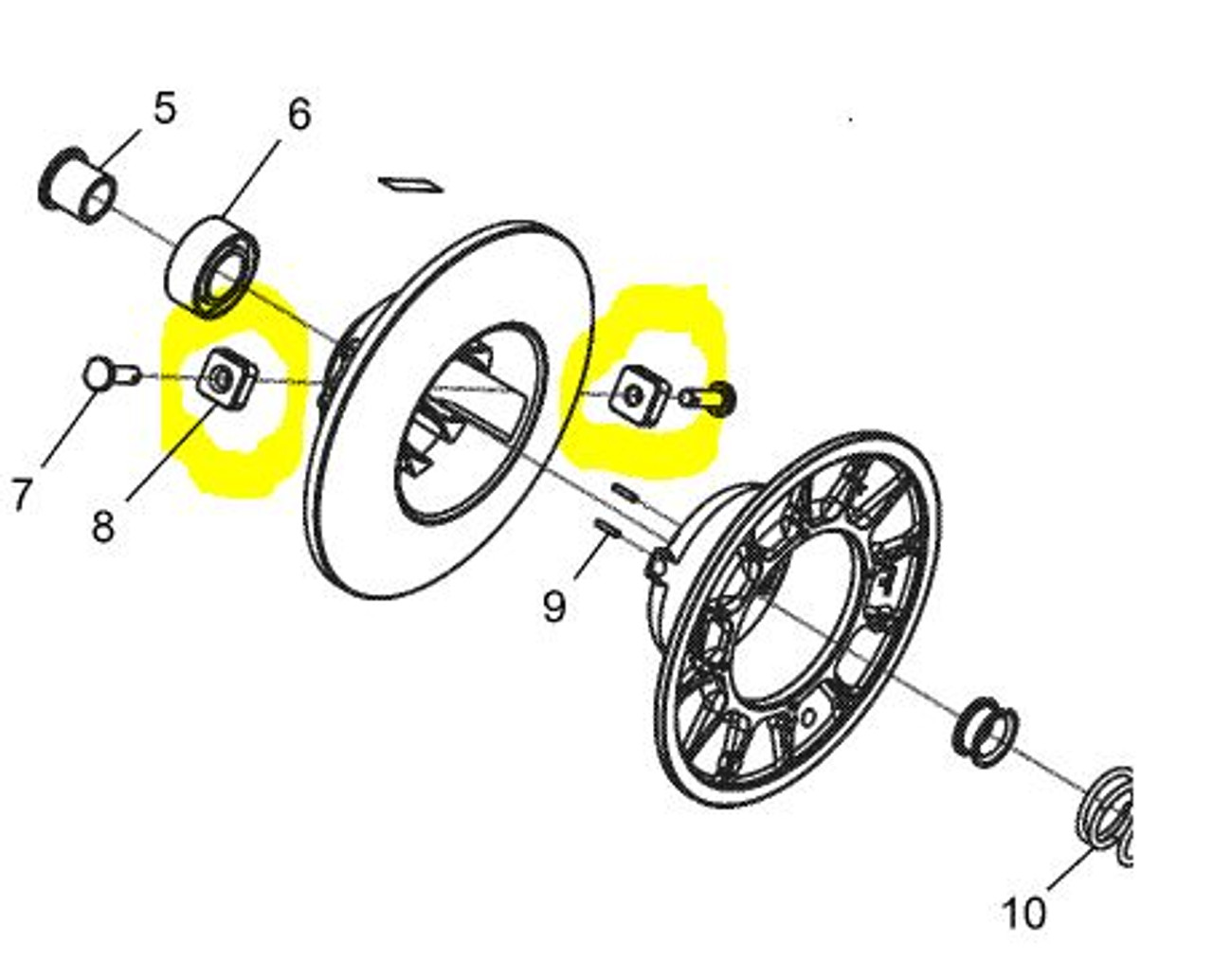 Diamond Rollers Upgrade Replaces Square Pucks ( Set of Two )  Ranger 1000 RZR General Boss Secondary Clutch  Diagram