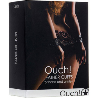 OUCH! Leather Cuffs in box