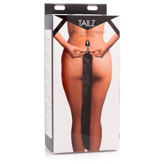 Extra Long Midnight Mink Tail Metal Anal Plug in box