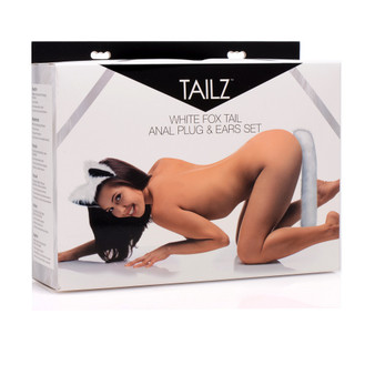 White Fox Tail Anal Plug and Ears Set box