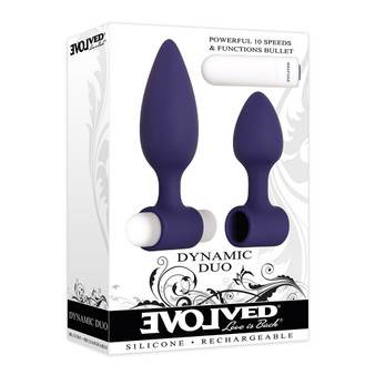 Dynamic Duo Rechargeable Silicone Vibrating Butt Plug Set in box