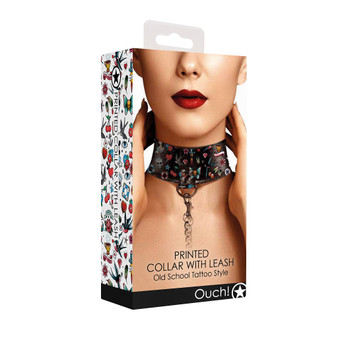 OUCH! Printed Collar With Leash Old School Tattoo Style in box