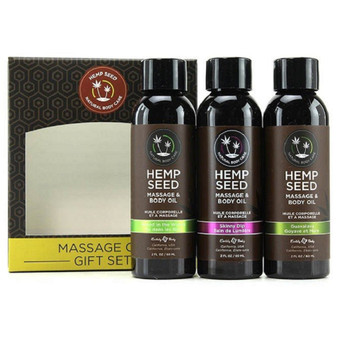 Massage Oil Gift Set - Naked In The Woods, Skinny Dip, Guavalava with box
