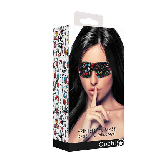 OUCH! Printed Eye Mask Old School Tattoo Style in box