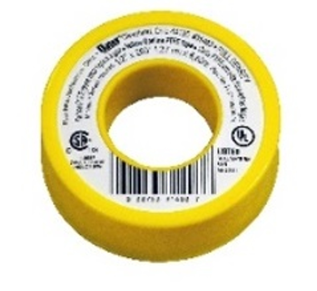"""YELLOW GAS LINE THREAD SEAL TAPE-1/2"""" x 260""""-4 MIL"""