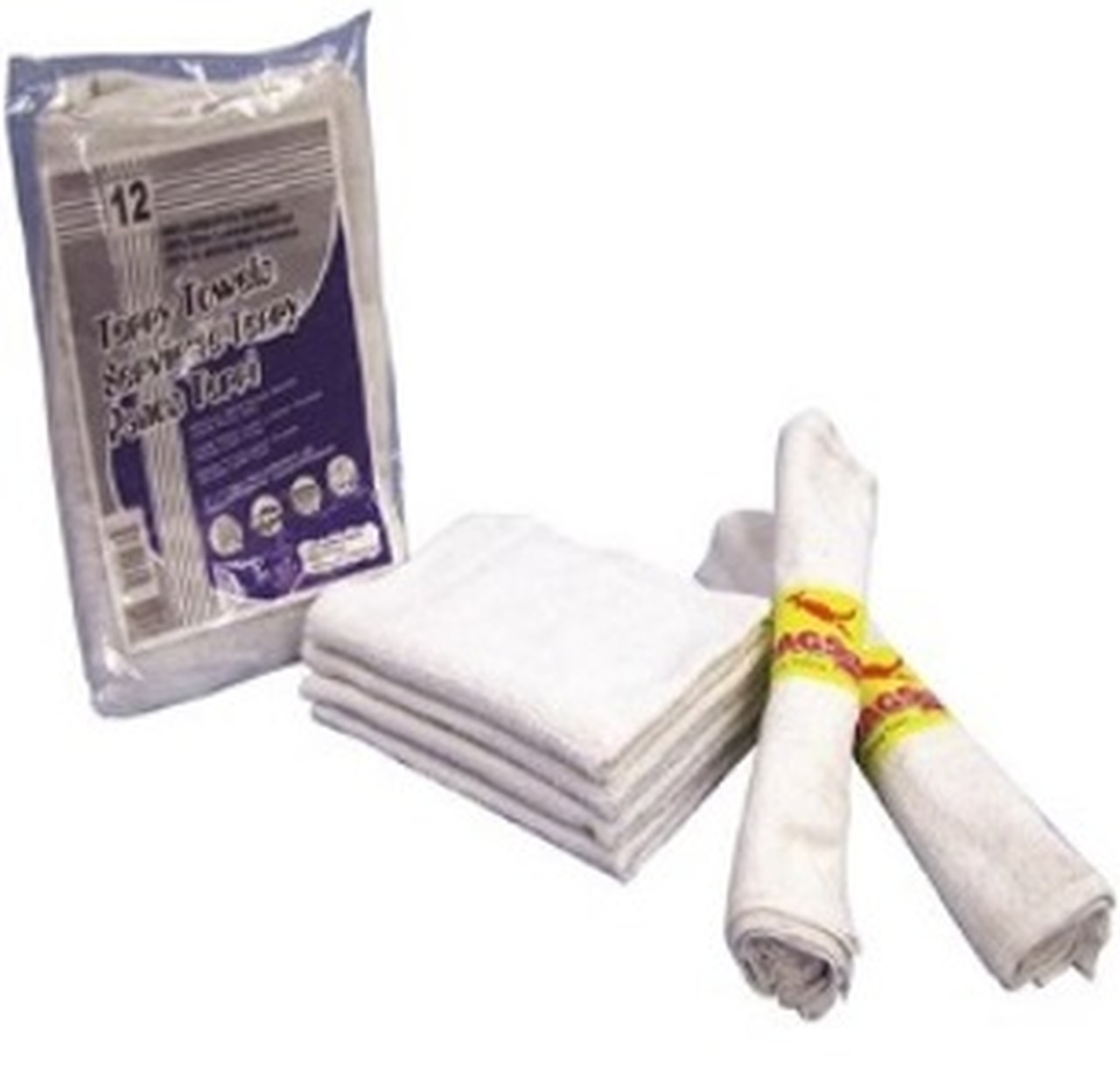 """ALL PURPOSE TERRY TOWELS 14""""X17""""WH 12PK"""