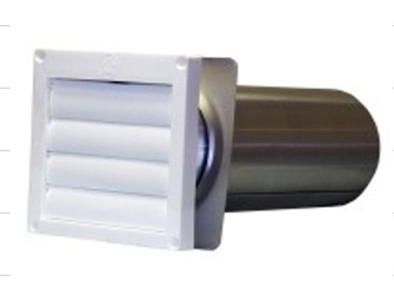 """4"""" LOUVERED DRYER VENT HOOD w/PIPE-WHITE"""