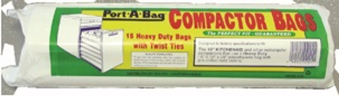 """KITCHEN AID K12 18"""" COMPACTOR BAGS-15"""" x 14"""" x 34"""" - SINGLE RETAIL PK WITH 15 BAGS"""