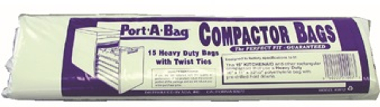 "KITCHEN AID KW12 15"" COMPACTOR BAGS-16"" x 11"" x 32.5"" - CASE OF 12 RETAIL PKGS"