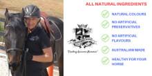 Turmeric and Coconut Horse Bix - 1kg Horse Training Treat by Huds and Toke.  The original Australian Horse Treat Company. World Class, Premium quality Horse Treats 100% All Natural and Australian Made