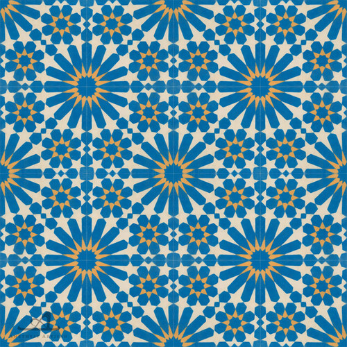DOUBLE DAISY BLUE CEMENT TILE