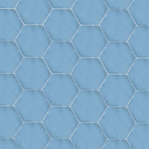 HEXAGON BLUE CEMENT TILE