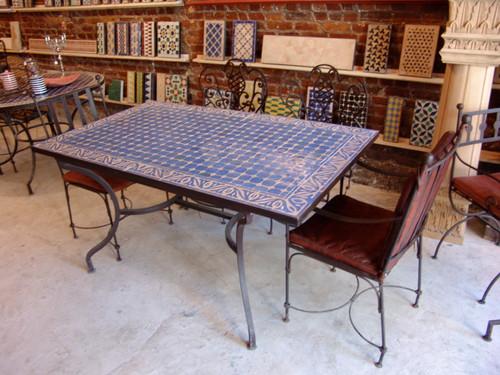 RECTANGULAR CORNFLOWER BLUE MOSAIC TABLE